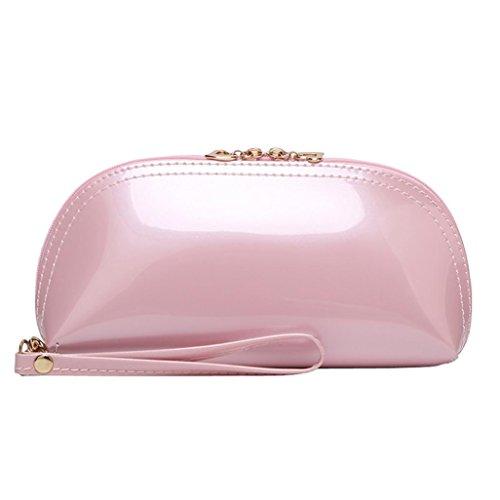 Mochilas Mujer Casual,Mujer sólido color cremallera brillante superficie embrague bolsa moneda bolsa de teléfono LMMVP Rosado