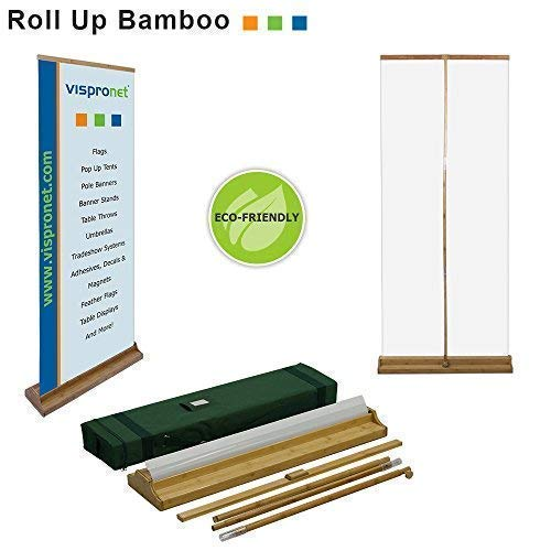 - Vispronet - 34in. x 80in. Bamboo Retractable Banner Stand for Trade Shows, Retail Displays and More - Stand Only, No Prints