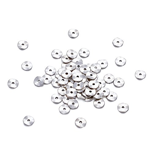 Kissitty 100-Piece Tibetan Antique Silver Wavy Disc Beads 10mm in Diameter Lead Free & Nickel Free & Cadmium Free Metal Flat Round Twist Spacers