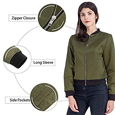 Brovollous Womens Short Bomber Jacket, Classic Quilted Lightweight Casual Zip up Solid Biker Coat Flight Jacket with Pockets at Women's Coats Shop