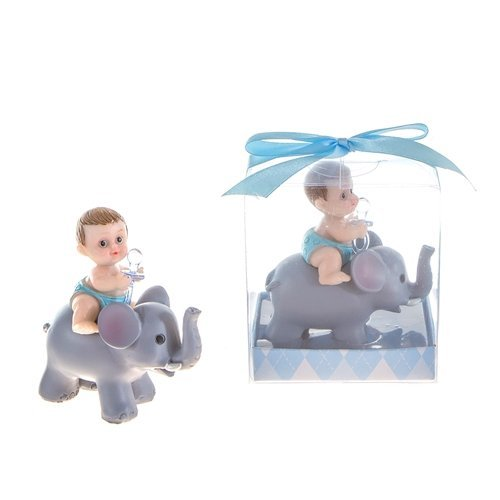 Baby Holding Pacifier Sitting on Elephant Poly Resin in Gift