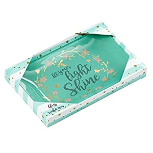 Christian Art Gifts Let Your Light Shine Glass Trinket Dish in Gift Box, Green 4