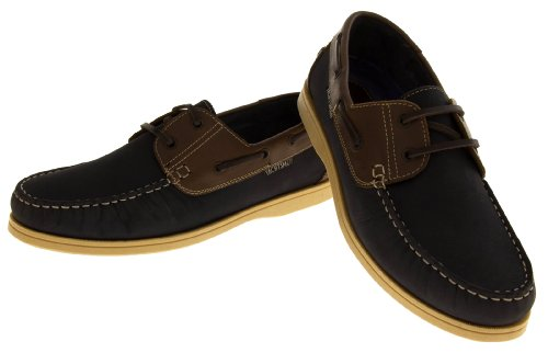 Mens Leather YACHTSMAN Lace Up Boat Loafers Formal Moccasin Sailing Deck Shoes Navy blue 63xLpFzpR