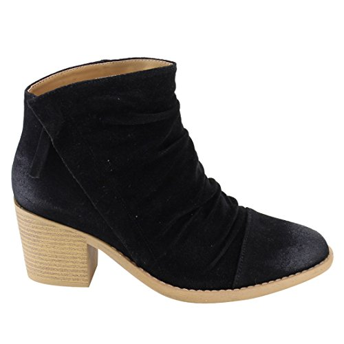 Booties EL47 Cap Zipper Ankle Toe Mid Heel Stacked Qupid Women's Black Side High w4nqxPgPS
