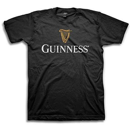 - Guinness Mens Beer Label Shirt - The Irish Stout Brewery Logo Shirt Graphic T-Shirt (Black Harp Logo, Large)