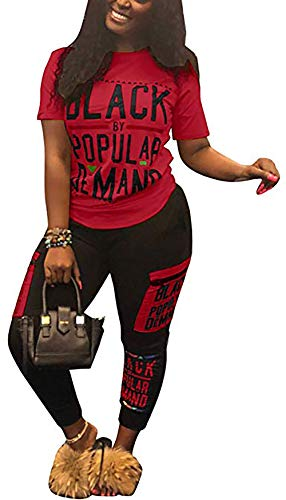 (DINGANG Womens Letter Print Two Piece Tracksuit Outfits Bodycon Jumpsuits Sweatsuit Set Red L)