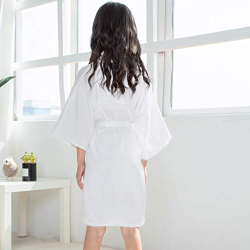 Clothful???????????? , Toddler Baby Kids Girls Solid Silk Satin Kimono Robes Bathrobe Sleepwear Clothes White by Clothful (Image #2)