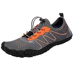 Hulkay Upgrade Water Sports Shoes For Women Men Quick Dry Aqua Socks Swim Barefoot Beach Swim Drawstring Shoes Gray 2 Mens Us 9 5 Cn 44