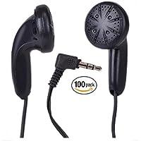 BULK WHOLESALE Lot of 100 BLACK 3.5mm In Ear Earbuds/Headphones/Earphones - Individually Sealed - 46 Length