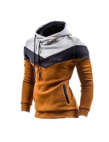 Fit À Hoodie Sweatshirt Slim Longues Homme Mode Pull Pullover Manches Kaki Capuche Minetom Pochette qPnBAFa