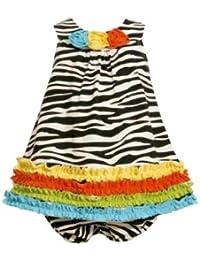 Bonnie Jean Baby Girls Zebra Knit Print Rusching Dress, Black / White, 2T - 4T