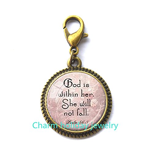 Fine Christian Jewelry (Christian Jewelry Psalm 46:5 Scripture Fashion Zipper Pull God Is Within Encouragement Zipper Pull Bible Quote Fashion Zipper Pull Spiritual Jewelry Gift for Her.D0033)