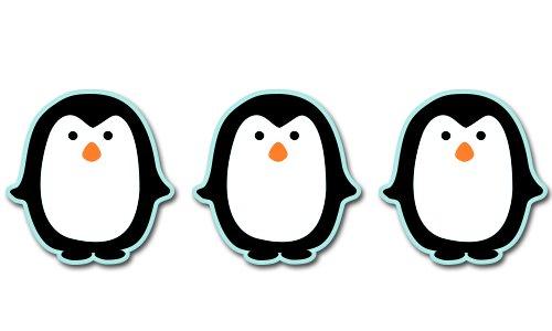 Cute Penguins Set of 3 Vinyl Sticker - Car Window Bumper Laptop - SELECT -