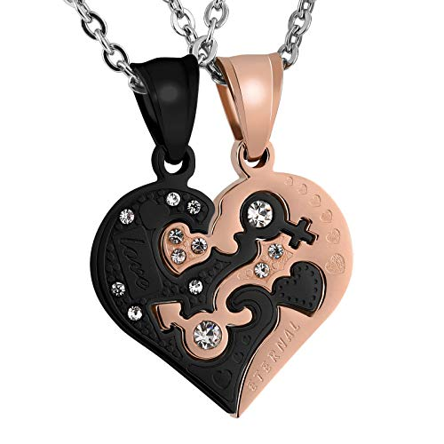 - Aeici Silver Black Couple Necklace for His Hers Stainless Steel Love Heart CZ Puzzle Matching Pendant
