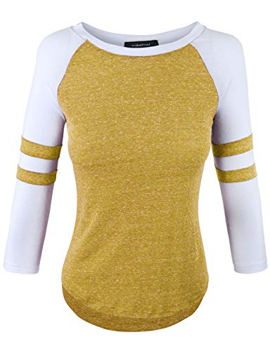 makeitmint Womens Color Contrast 3/4 Stripe Sleeve Baseball T-Shirt Top [S-3XL]