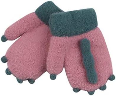 子供用ニット手袋 暖かいグローブ ふわモコ ボア付き 厚手 あったか手袋 おしゃれ ミトン手袋 通園 柔らかい 防寒 保温 男の子 女の子 兼用 1-3歳 (ブラック)