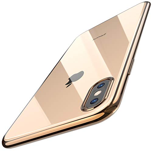 TOZO for iPhone Xs Max Case 6.5 Inch (2018) Premium Clear Soft TPU Gel Ultra-Thin [Slim Fit] Transparent Flexible Cover for iPhone Xs Max with [Space Gold Plating Edge]
