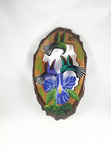 (Costa Rica Small Typical Artisan Painted Art on Wood (Hummingbirds))