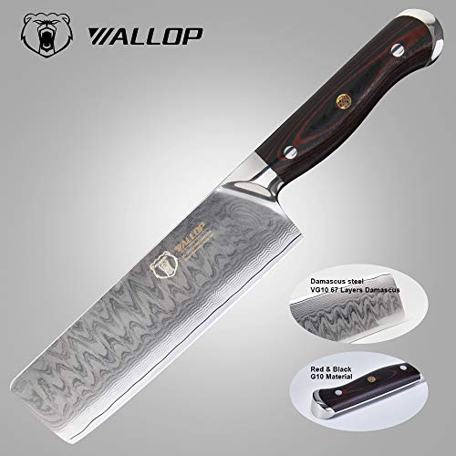 7'Japanese Damascus Usuba - Nakiri Knife with 67 Layers Damascus Steel Kitchen Knife,Vegetable Chopper Cutter Knife, Meat Cleaver, Full Tang Blade G10 Handle for Professional Chef WALLOP Dragon Bone by WALLOP