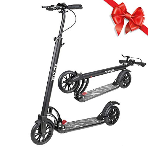 VOKUL Foldable Kick Scooter for Adults Teens Kids with Big 200mm Wheel,Hand Disc Brake Two-Wheels Commuter Scooter -Aesthetic Design,Full Aluminum Body,3 Seconds Easy-Folding System,220lbs Capacity