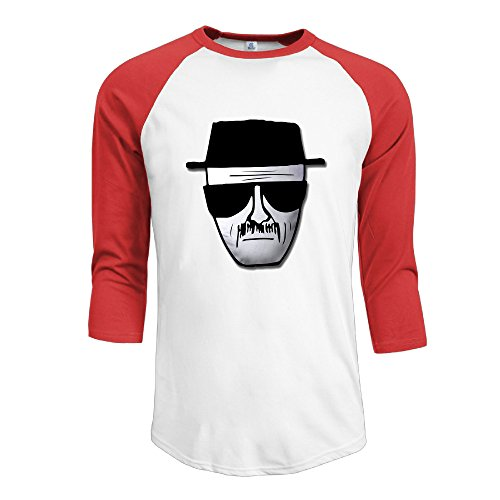 Heisenberg Beard (NINJOE Men's Sportstyle 3/4 Raglan Breaking Bad Heisenberg Logo T Shirts Red M)