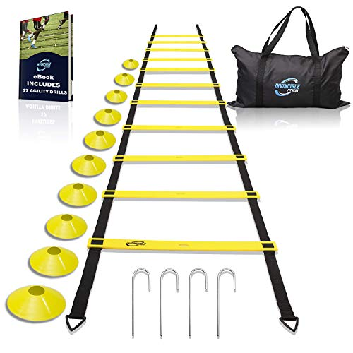 (Invincible Fitness Agility Ladder Training Equipment Set, Improves Coordination, Speed, Explosive Power and Strength, Includes 10 Cones + 4 Hooks for Outdoor Workout )
