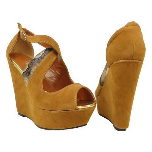 Camel Toe Peep Suede Sandals Wedges Strappy Womens Snake Platform Camel Faux gzWAFwaU