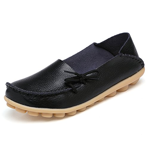 Loafers Slip Shoes Women's Indoor Casual Leather On Flats Slippers Black Temofon Moccasins Driving 2 zT8Exzw