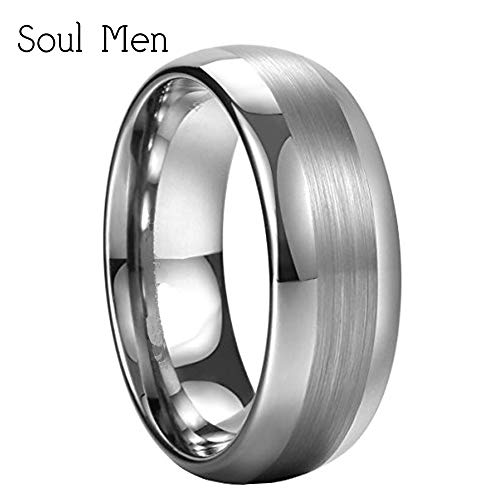 Men's Tungsten Dome Polished Wedding Rings | Matte Brushed Center Finished Female Engagement Jewelry (Size 9/10.5 7mm)