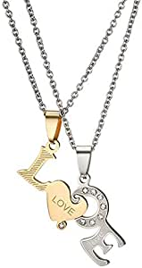 Crystal Love Letter Design Stainless Steel Puzzle Necklaces for Women Couples Jewelry