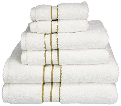 Blue Nile Mills 900 GSM Hotel Collection 6-Piece Cotton Bath Towel Set, White/Toast