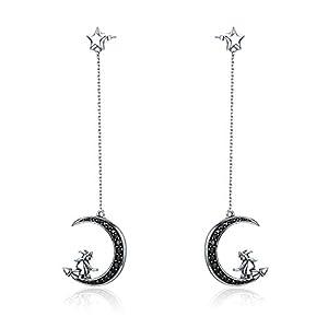 Orecchini da donna in vero argento Sterling 925, con stella magica e zirconia cubica nera