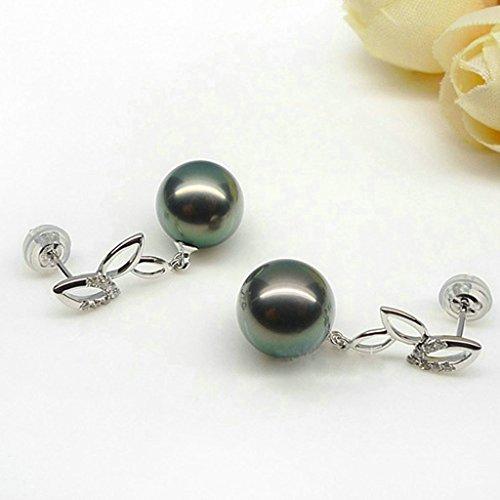 Aooaz Femmes Argent Boucles d'Oreilles Noir Pearl Feuille Lien Boucles d'Oreilles Pendantes