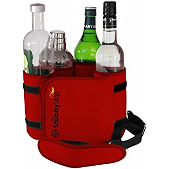 The StubbyStrip VINO: Portable Insulated Drink Carrier with shoulder strap, Neoprene, holds 1-4 Wine Bottle or a go-anywhere martini kit and a portable bar! (Red)