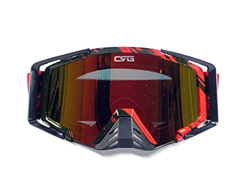 CRG Motocross ATV Dirt Bike Off Road Racing Goggles Adult T815-105 Series (Red and Black)