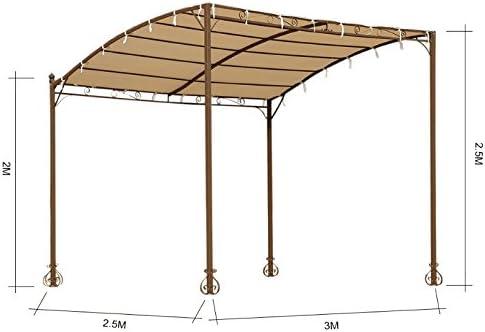 IKAYAA DU105 - Carpa para Sol y Lluvia 3x2.5x2.5m (Estilo Rococó,De Acero Inoxidable) - para Jardín Patio Exterior Terraza Playa