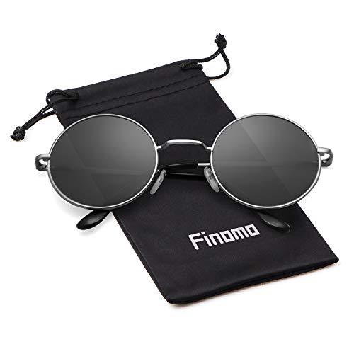 retro metal sol lente mujeres UV400 y Marco Finomo con redondas Plata Lente Vintage de Circle Gafas para Gris hombres de marco qEqwIpx8