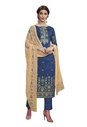 Ladyline Cotton Embroidered Salwar Kameez Ready to Wear Indian Womens Evening Dress (Size_44/ Dark Blue) ()