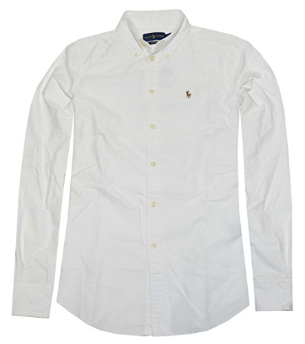 Polo Ralph Lauren Womens Custom Fit Oxford Button Down Shirt, White, (Cotton Embroidered Oxford Shirt)