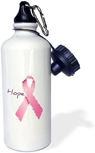 Botella de Agua Deportiva de Regalo, Pintada con Lazo Rosa con la Esperanza de Arte del cáncer de Mama, Botella de Agua Blanca de Acero Inoxidable para Mujeres y Hombres, 53,3 g