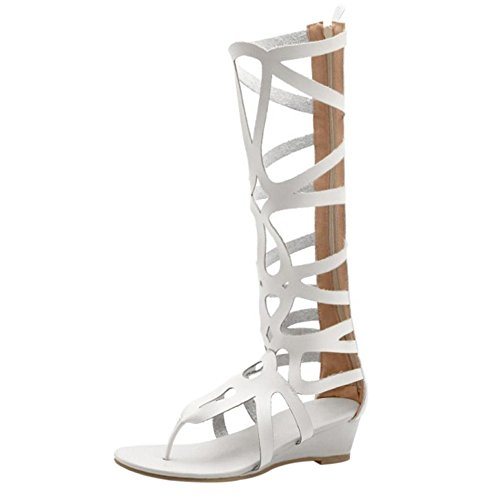 Coolcept Women Fashion Zipper Gladiator Sandals Beige-White vusHPqlx5E