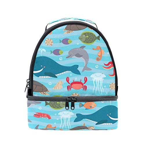 Lovely Seahorse Of The World Double Insulated Lunch Bag Cooler Tote Winter Design Reinforced Base And Zip Top And Additional Side Handles