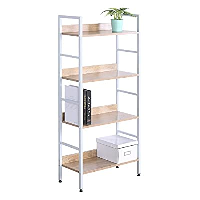 WOLTU 4 Shelf Bookcase Heavy Duty Wood Bookshelves Display Rack Metal Book Storage Shelves Bookcase Headboard White - White Bookcase Material :made of laminated particleboard, fixed with sturdy metal steel. Corner bookshelf Size(L*W*H): 23.62*10.86*50inch.Each tier height is 13inch. The baffle height is 6.77 inch Durable and Sturdy:load bearing of each shelf is 20-25bls, you could put it on your bedroom,house,office, as library bookcase furniture. - living-room-furniture, living-room, bookcases-bookshelves - 41qCiUHP4nL. SS400  -