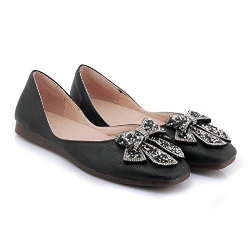 35 Chaussures étudiant HWF Confortable Été Taille Couleur Noir Simples Femmes pour Chaussures Femelle Noir Plates Chaussures femme BB4Hr0Z