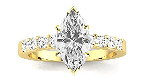 - 1 Carat 14K Yellow Gold Classic Prong Set Round Marquise Cut Diamond Engagement Ring (0.5 Ct E Color SI1 Clarity Center Stone)