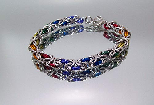 rainbow, bracelet, pride, pride bracelet, byzantine bracelet, chainmail, chainmaille bracelet