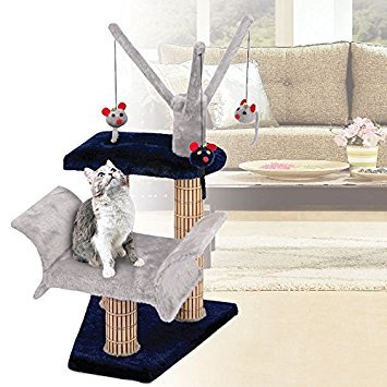 Cat Lounger with Play Tree and Bamboo Post, Navy/Gray - 16 x 16 x 23 Inches (WxDxH) ()