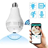 360 Degree WiFi Security IP Camera, Panoramic Light Bulb Camera, HD 960P Wireless Camera for Home Baby Pet Monitor Remote Viewing Cameras Night Vision Motion Alarm Wireless Camera 2.4GHz
