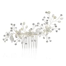 SWEETV Handmade Wedding Hair Comb Pearl Flower Bridal Comb Rhinestone Hair Accessories, Silver