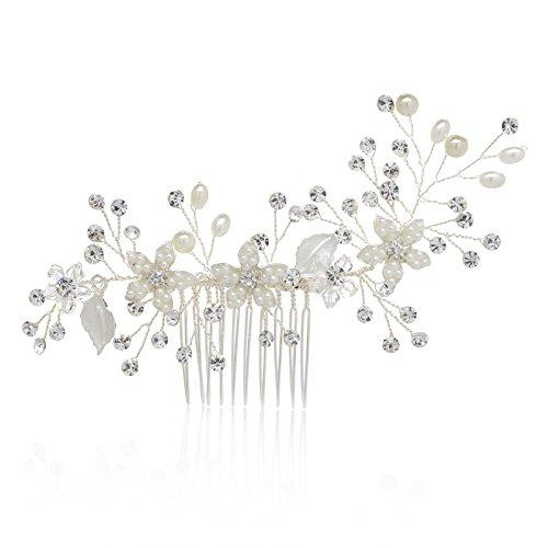 SWEETV Handmade Wedding Hair Comb Pearl Flower Bridal Comb Rhinestone Hair Accessories, Silver